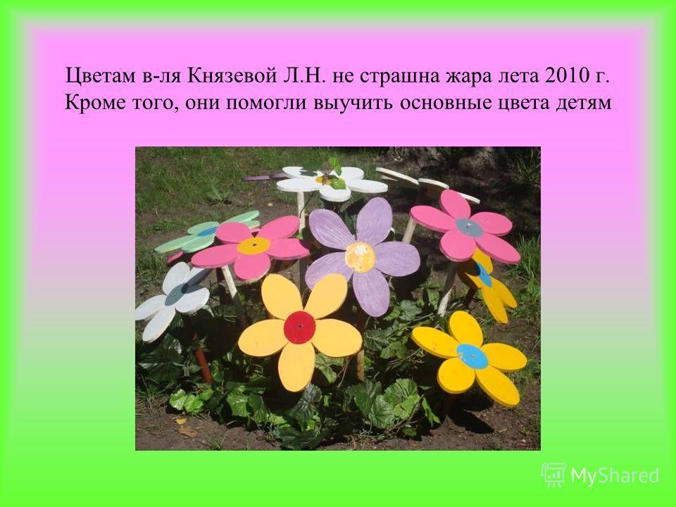 Цветам в-ля Князевой Л.Н. не страшна жара лета 2010 г. Кроме того, они помогли выучить основные цвета детям