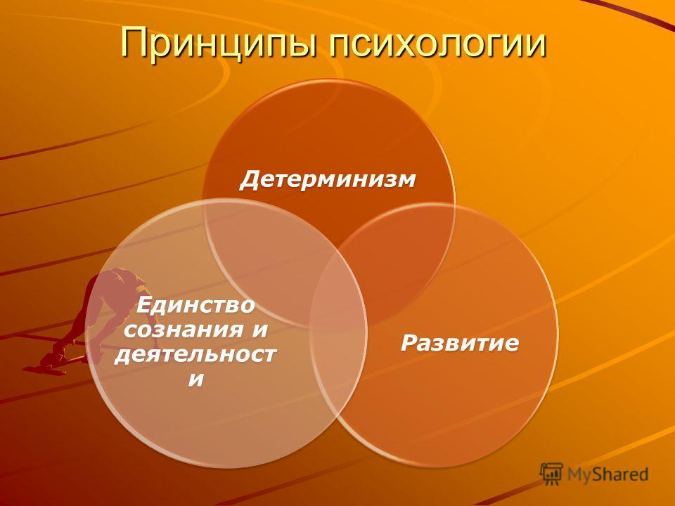 Принципы психологии Детерминизм Развитие Единство сознания и деятельности