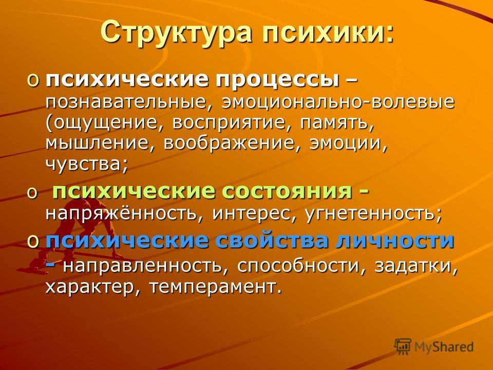 Структура психики: oпсихические процессы – познавательные, эмоционально-волевые (ощущение, восприятие, память, мышление, воображение, эмоции, чувства; o психические состояния - напряжённость, интерес, угнетенность; oпсихические свойства личности - на