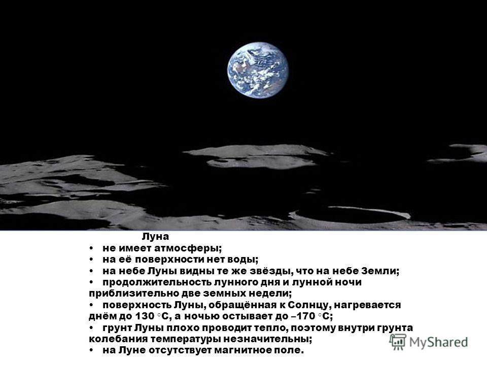 Луна не имеет атмосферы; на её поверхности нет воды; на небе Луны видны те же звёзды, что на небе Земли; продолжительность лунного дня и лунной ночи приблизительно две земных недели; поверхность Луны, обращённая к Солнцу, нагревается днём до 130 °С,