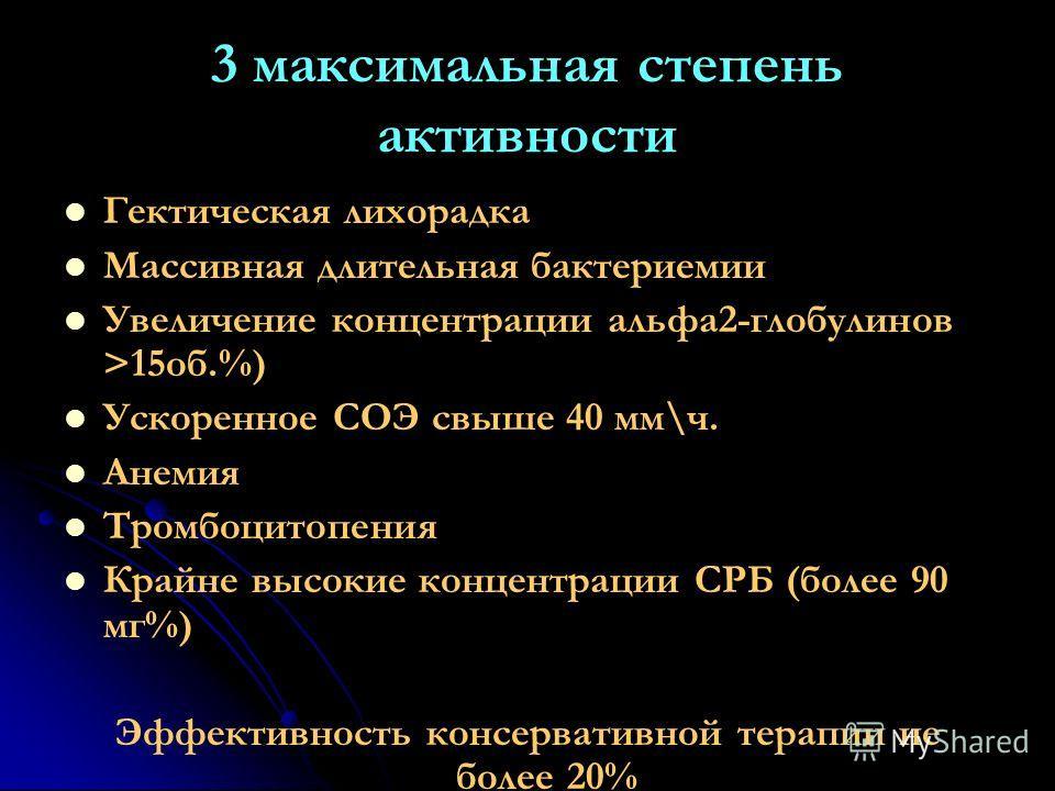 3 максимальная степень активности Гектическая лихорадка Массивная длительная бактериемии Увеличение концентрации альфа2-глобулинов >15об.%) Ускоренное СОЭ свыше 40 мм\ч. Анемия Тромбоцитопения Крайне высокие концентрации СРБ (более 90 мг%) Эффективно