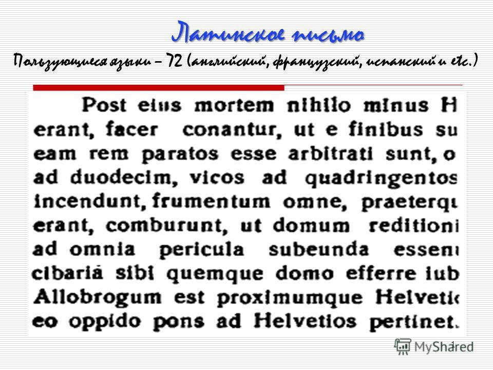 1 Латинское письмо Пользующиеся языки – 72 (английский, французский, испанский и еtc.)