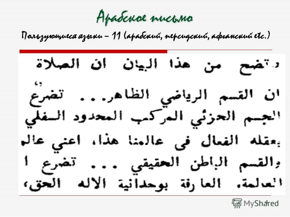 4 Арабское письмо Пользующиеся языки – 11 (арабский, персидский, афганский еtc.)