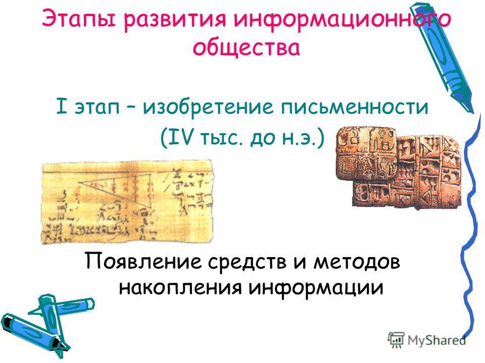 Этапы развития информационного общества I этап – изобретение письменности (IV тыс. до н.э.) Появление средств и методов накопления информации