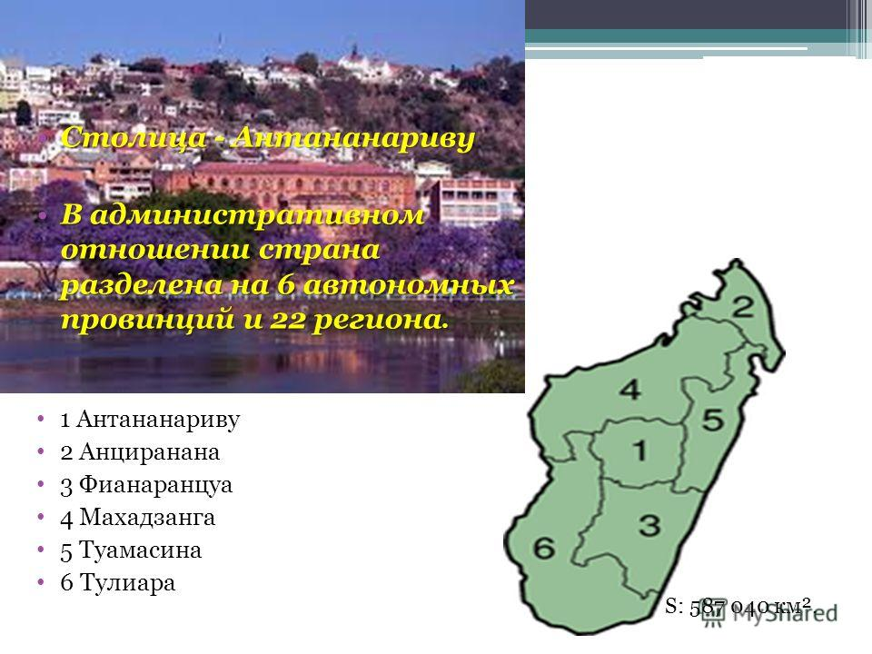 Столица - АнтананаривуСтолица - Антананариву В административном отношении страна разделена на 6 автономных провинций и 22 региона.В административном отношении страна разделена на 6 автономных провинций и 22 региона. 1 Антананариву 2 Анциранана 3 Фиан