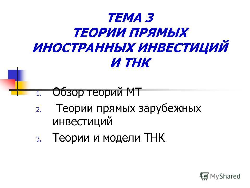 ТЕМА 3 ТЕОРИИ ПРЯМЫХ ИНОСТРАННЫХ ИНВЕСТИЦИЙ И ТНК 1. Обзор теорий МТ 2. Теории прямых зарубежных инвестиций 3. Теории и модели ТНК