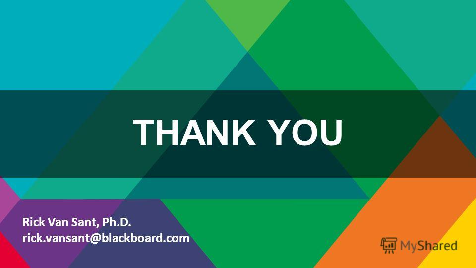 THANK YOU Rick Van Sant, Ph.D. rick.vansant@blackboard.com
