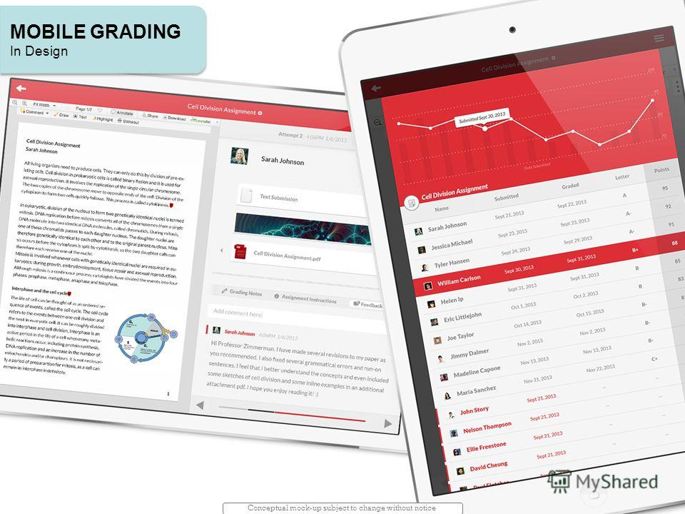 Conceptual mock-up subject to change without notice MOBILE GRADING In Design MOBILE GRADING In Design