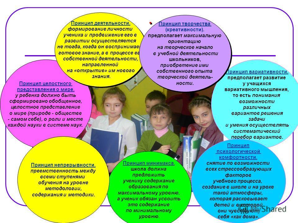 Принцип целостного представления о мире. у ребенка должно быть сформировано обобщенное, целостное представление о мире (природе - обществе - самом себе), о роли и месте каждой науки в системе наук. Принцип деятельности. формирование личности ученика