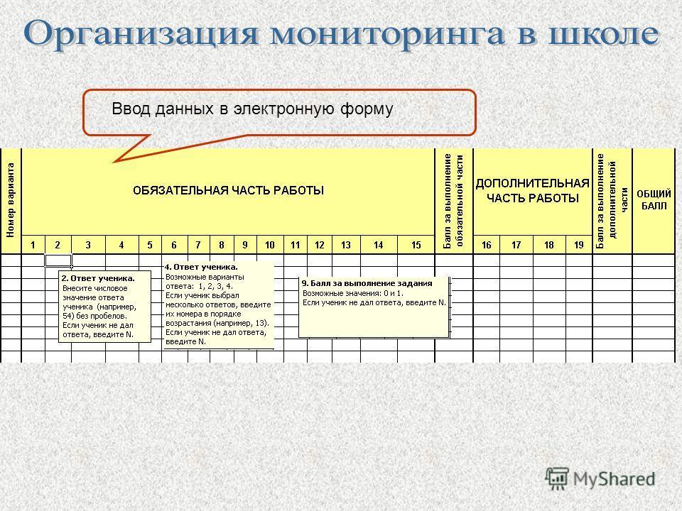 Ввод данных в электронную форму