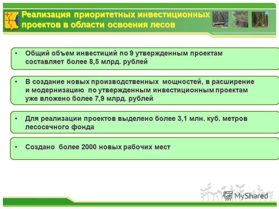 Реализация приоритетных инвестиционных проектов в области освоения лесов Общий объем инвестиций по 9 утвержденным проектам составляет более 8,5 млрд. рублейОбщий объем инвестиций по 9 утвержденным проектам составляет более 8,5 млрд. рублей В создание