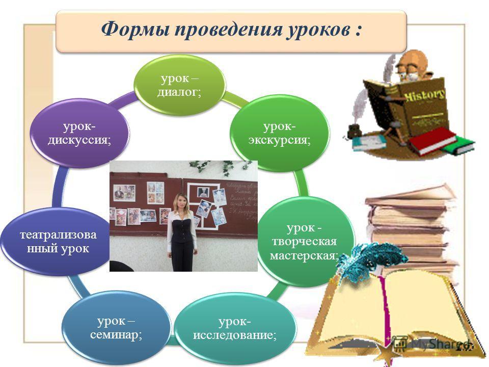 Формы проведения уроков : урок – диалог; урок- экскурсия; урок - творческая мастерская; урок- исследование; урок – семинар; театрализова нный урок урок- дискуссия;