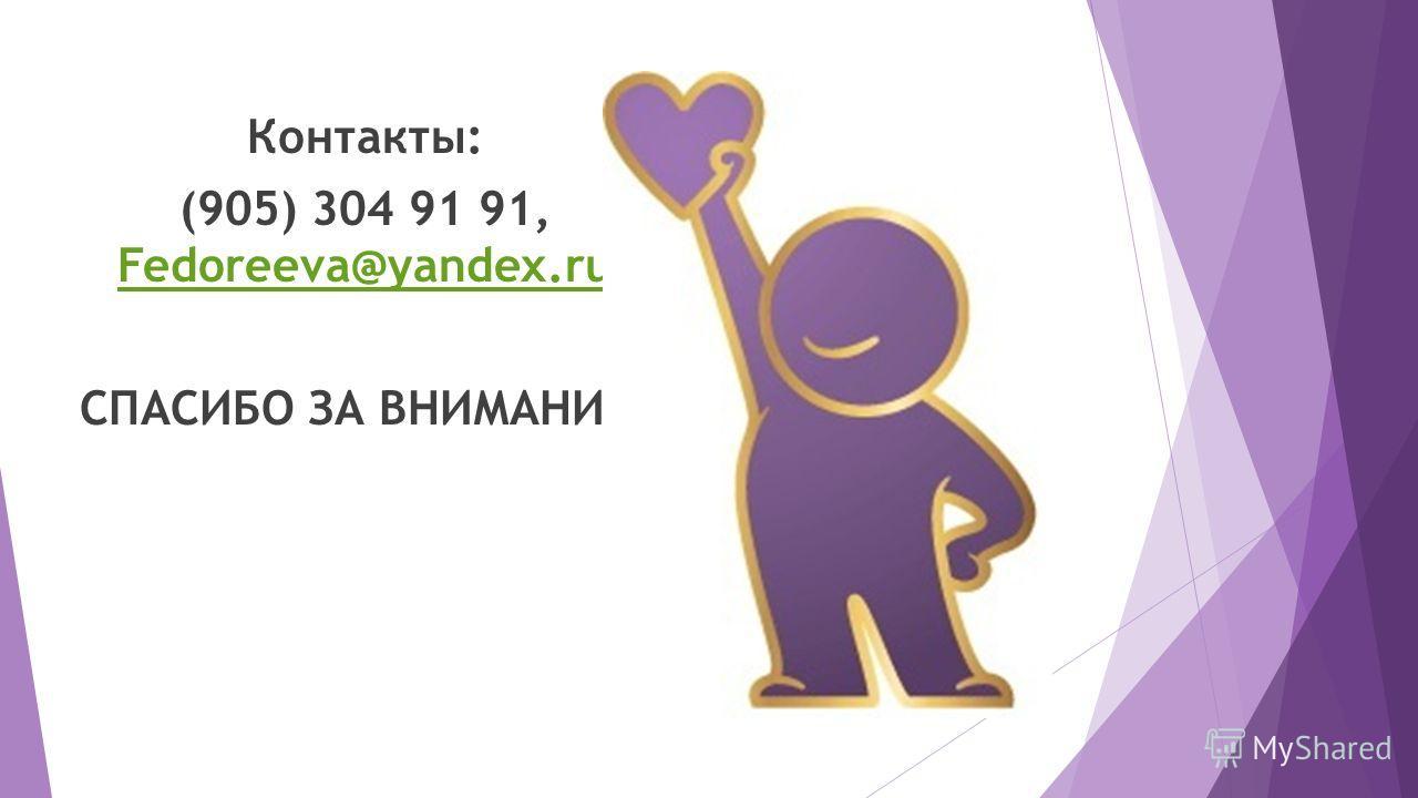 Контакты: (905) 304 91 91, Fedoreeva@yandex.ru Fedoreeva@yandex.ru СПАСИБО ЗА ВНИМАНИЕ!