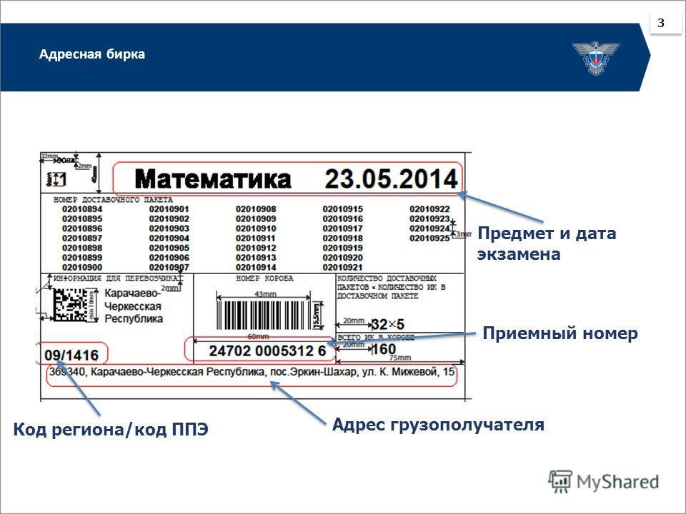 Адресная бирка 3 3 Адрес грузополучателя Код региона/код ППЭ Предмет и дата экзамена Приемный номер