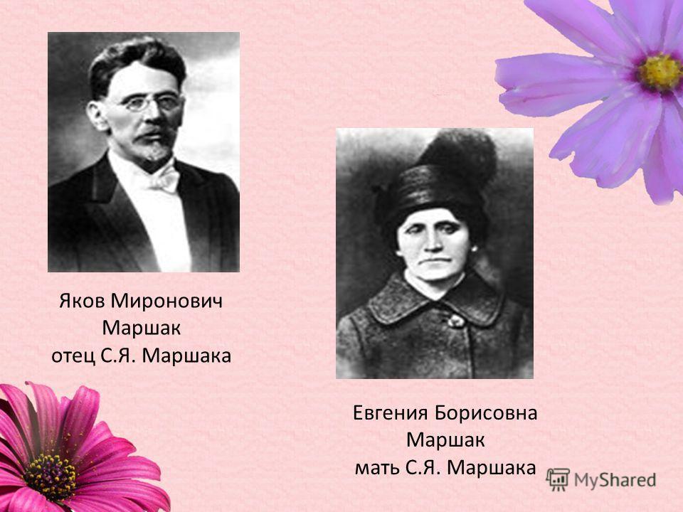 Яков Миронович Маршак отец С.Я. Маршака Евгения Борисовна Маршак мать С.Я. Маршака