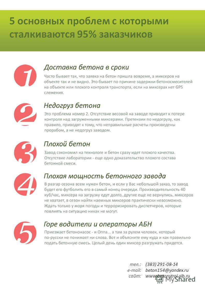 5 основных проблем с которыми сталкиваются 95% заказчиков (383) 291-08-14 beton154@yandex.ru www.betonstroi-sib.ru тел.: e-mail: сайт: