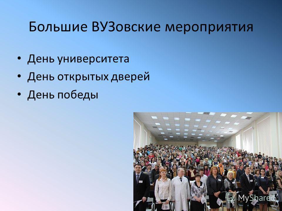 Большие ВУЗовские мероприятия День университета День открытых дверей День победы