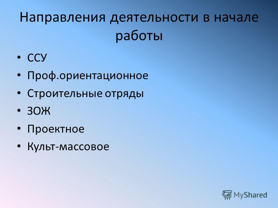 Направления деятельности в начале работы ССУ Проф.ориентационное Строительные отряды ЗОЖ Проектное Культ-массовое