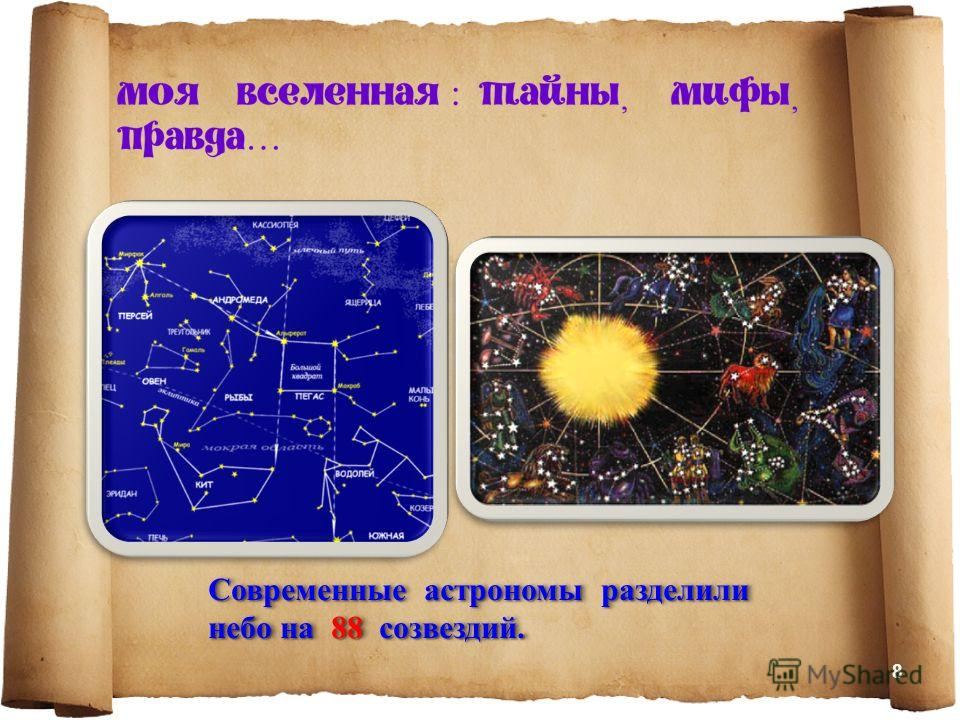 Современные астрономы разделили небо на 88 созвездий. 8