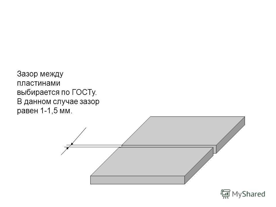 Зазор между пластинами выбирается по ГОСТу. В данном случае зазор равен 1-1,5 мм.