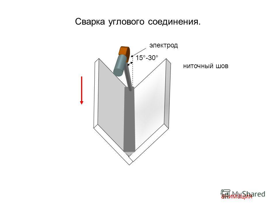 Сварка углового соединения. 15°-30° анимация ниточный шов электрод