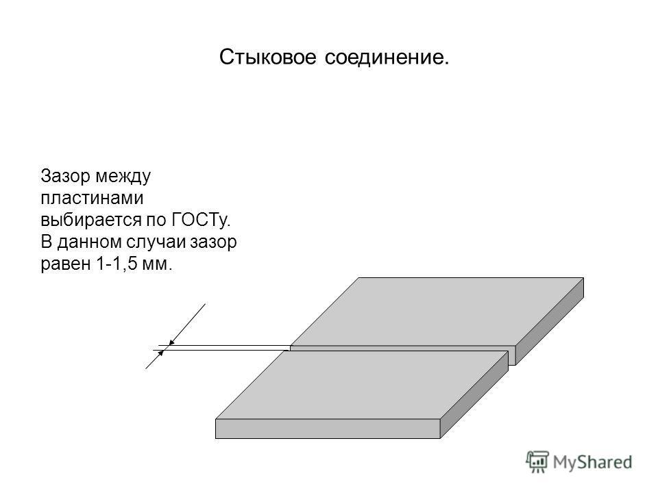 Зазор между пластинами выбирается по ГОСТу. В данном случаи зазор равен 1-1,5 мм. Стыковое соединение.