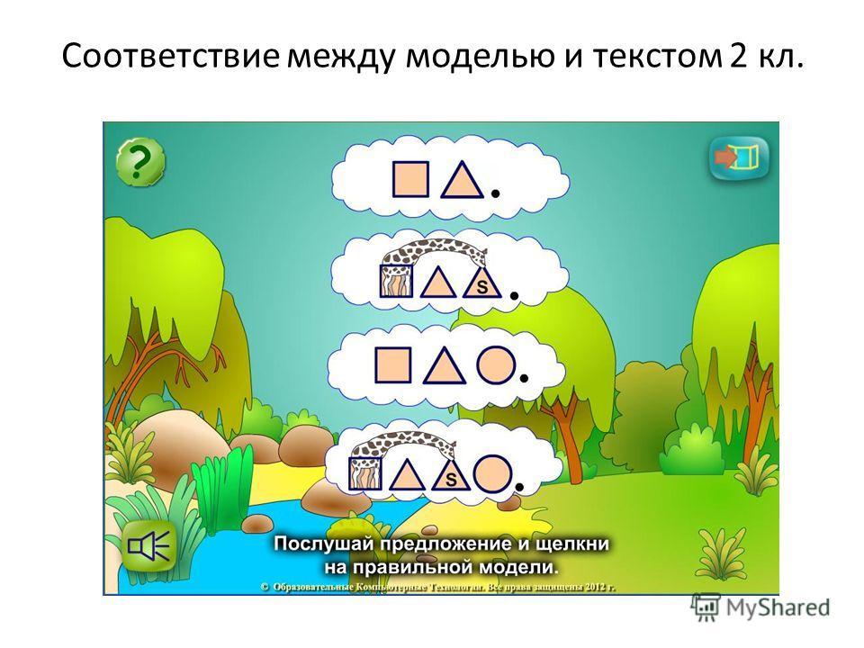Соответствие между моделью и текстом 2 кл.