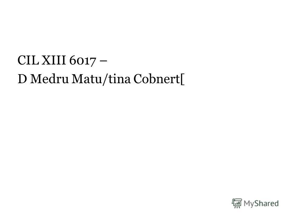 CIL XIII 6017 – D Medru Matu/tina Cobnert[