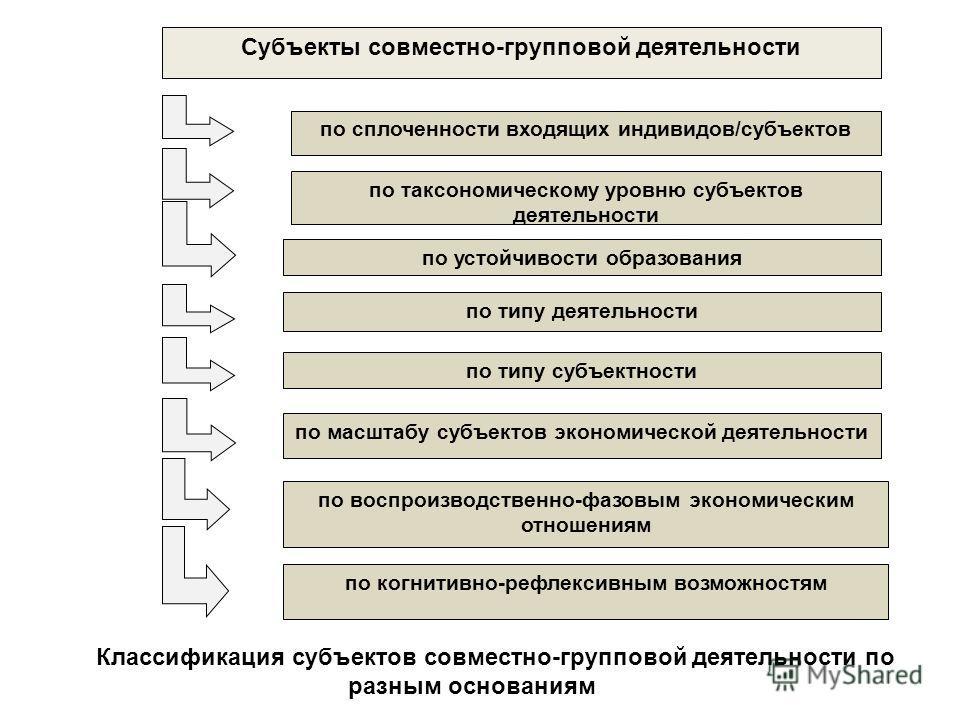 Спасибо за внимание! по сплоченности входящих индивидов/субъектов по типу деятельности по устойчивости образования по типу субъектности по масштабу субъектов экономической деятельности по когнитивно-рефлексивным возможностям по таксономическому уровн