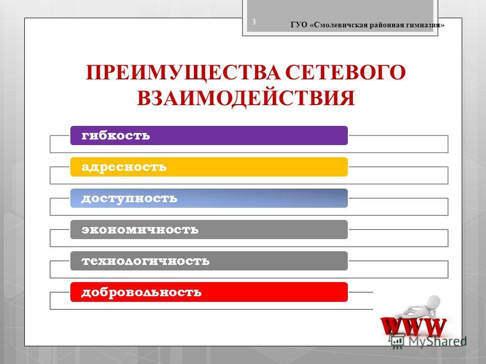 ПРЕИМУЩЕСТВА СЕТЕВОГО ВЗАИМОДЕЙСТВИЯ ГУО «Смолевичская районная гимназия» 3 гибкостьадресностьдоступностьэкономичностьтехнологичностьдобровольность