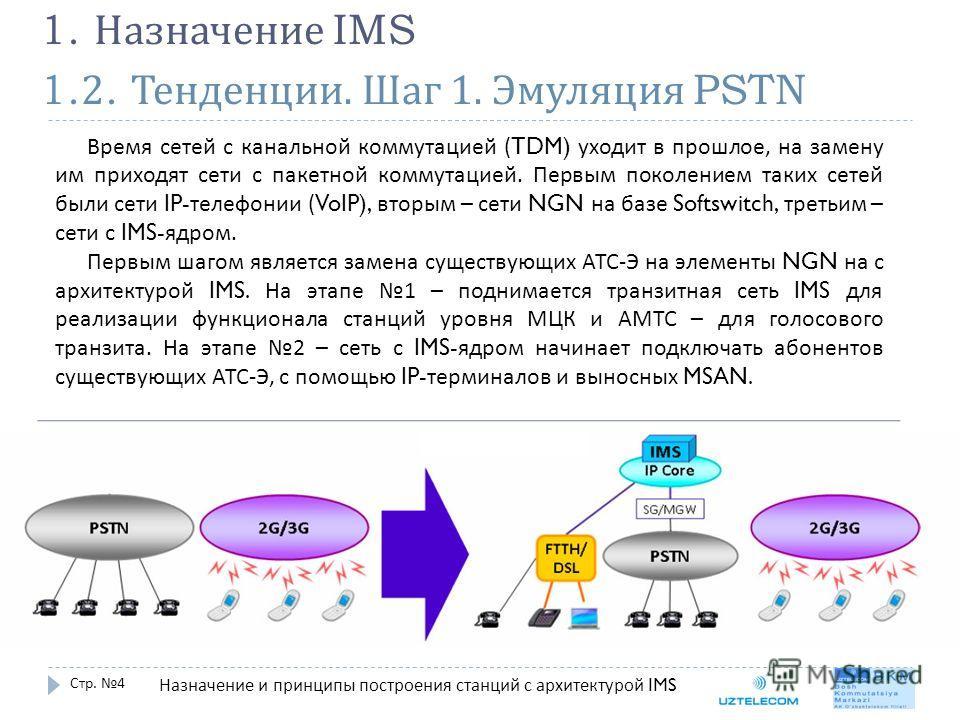 1.2. Тенденции. Шаг 1. Эмуляция PSTN Стр. 4 1. Назначение IMS Время сетей с канальной коммутацией (TDM) уходит в прошлое, на замену им приходят сети с пакетной коммутацией. Первым поколением таких сетей были сети IP- телефонии (VoIP), вторым – сети N