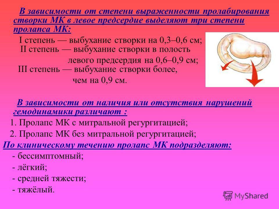 В зависимости от степени выраженности пролабирования створки МК в левое предсердие выделяют три степени пролапса МК: I степень выбухание створки на 0,3–0,6 см; II степень выбухание створки в полость левого предсердия на 0,6–0,9 см; III степень выбуха