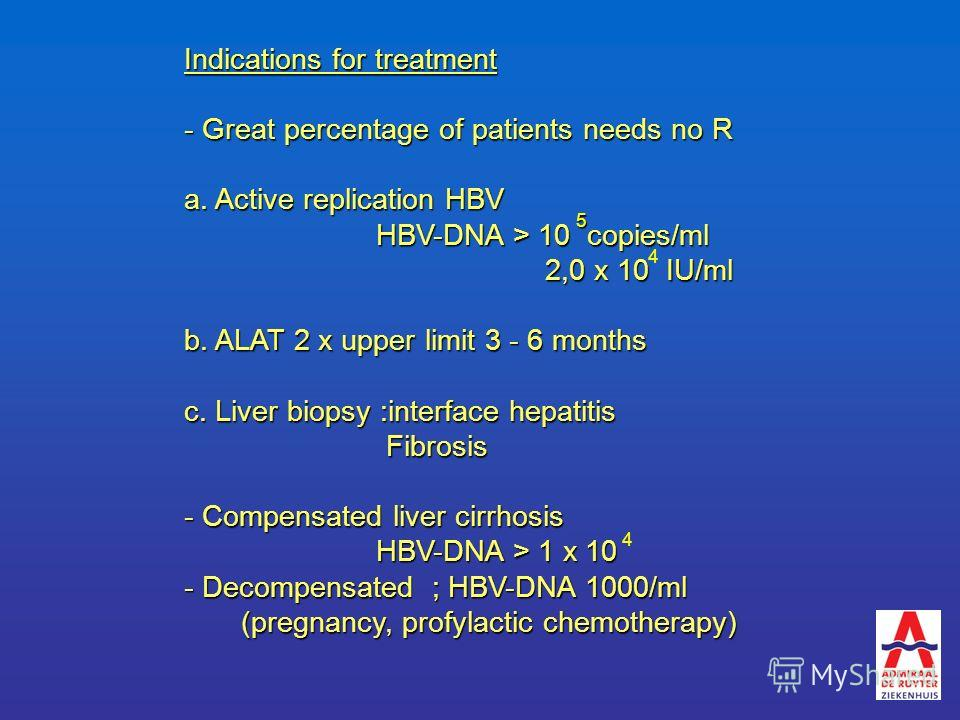 Indications for treatment - Great percentage of patients needs no R a. Active replication HBV HBV-DNA > 10 copies/ml 2,0 x 10 IU/ml 2,0 x 10 IU/ml b. ALAT 2 x upper limit 3 - 6 months c. Liver biopsy :interface hepatitis Fibrosis Fibrosis - Compensat