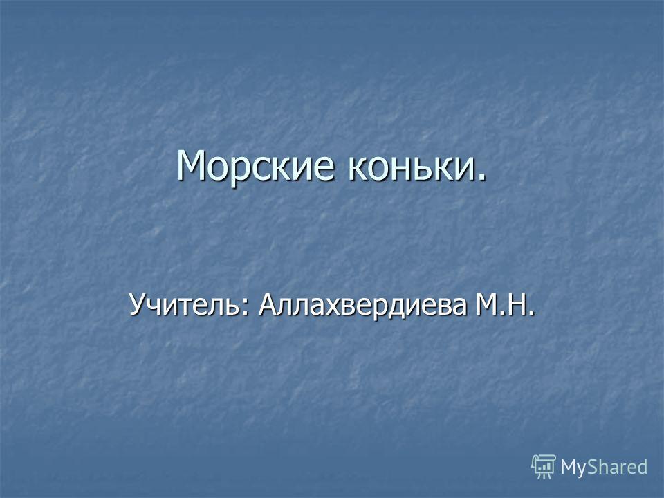 Морские коньки. Учитель: Аллахвердиева М.Н.