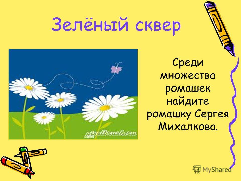 Зелёный сквер Среди множества ромашек найдите ромашку Сергея Михалкова.