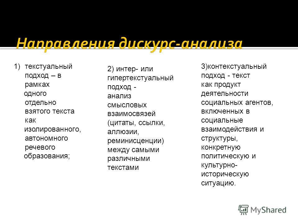 1)текстуальный подход – в рамках одного отдельно взятого текста как изолированного, автономного речевого образования; 2) интер- или гипертекстуальный подход - анализ смысловых взаимосвязей (цитаты, ссылки, аллюзии, реминисценции) между самыми различн