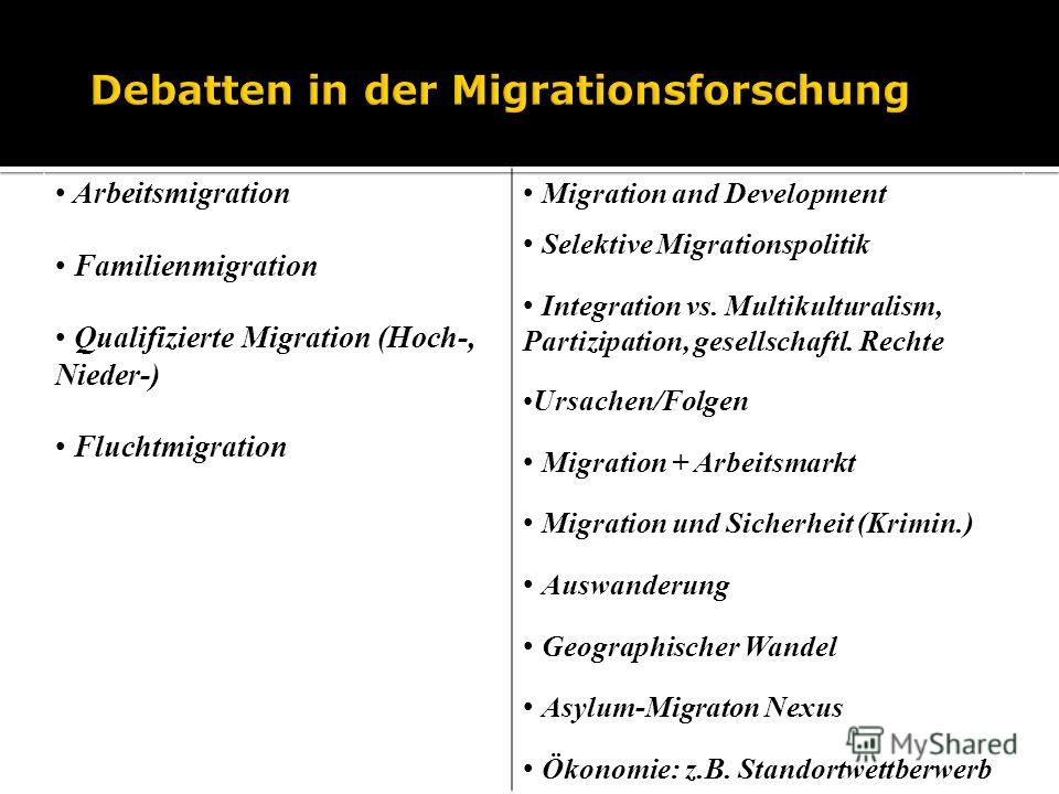 Arbeitsmigration Familienmigration Qualifizierte Migration (Hoch-, Nieder-) Fluchtmigration Migration and Development Selektive Migrationspolitik Integration vs. Multikulturalism, Partizipation, gesellschaftl. Rechte Ursachen/Folgen Migration + Arbei
