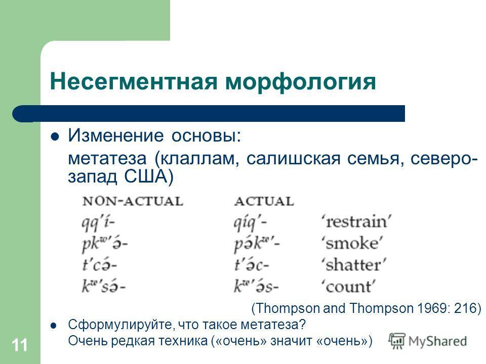 11 Несегментная морфология Изменение основы: метатеза (клаллам, салишская семья, северо- запад США) (Thompson and Thompson 1969: 216) Сформулируйте, что такое метатеза? Очень редкая техника («очень» значит «очень»)