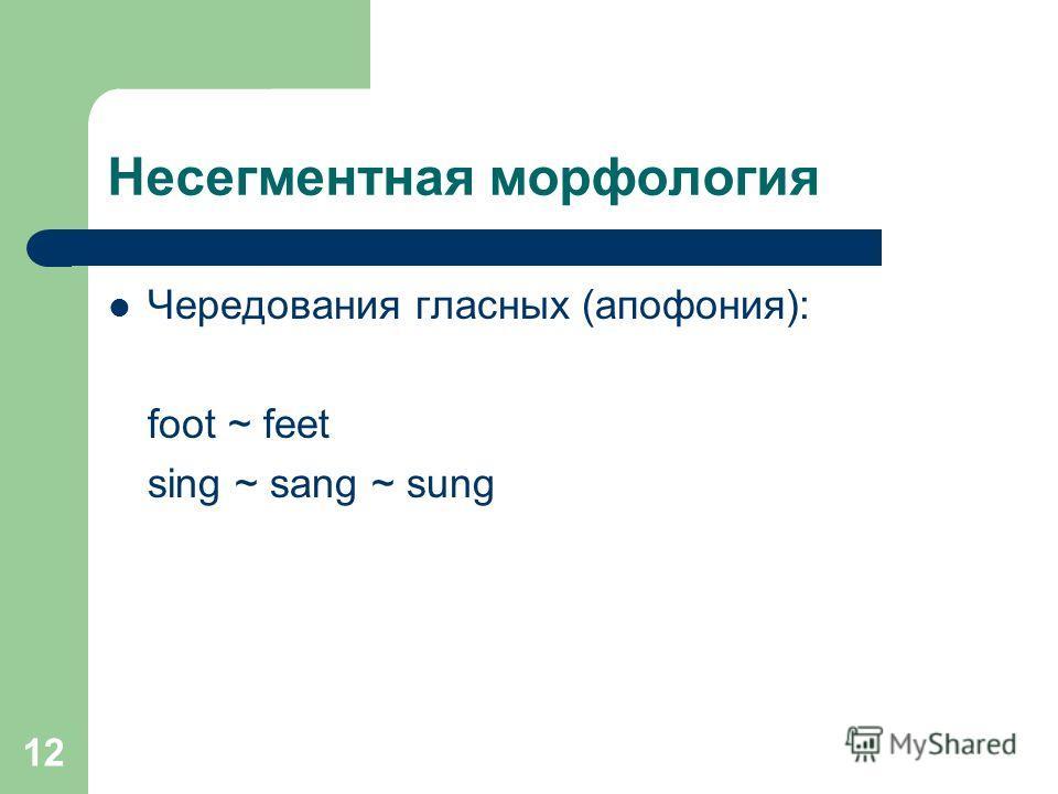 12 Несегментная морфология Чередования гласных (апофония): foot ~ feet sing ~ sang ~ sung
