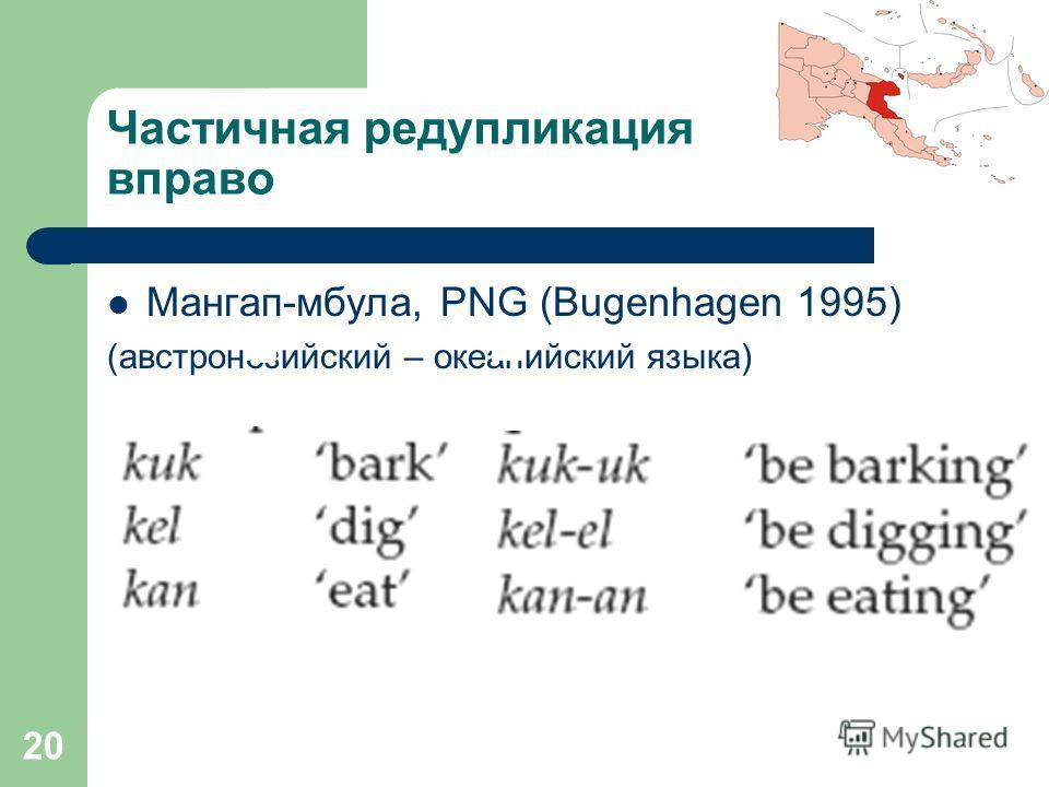 20 Частичная редупликация вправо Мангап-мбула, PNG (Bugenhagen 1995) (австронезийский – океанийский языка)