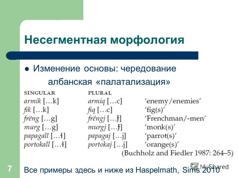 7 Несегментная морфология Изменение основы: чередование албанская «палатализация» Все примеры здесь и ниже из Haspelmath, Sims 2010