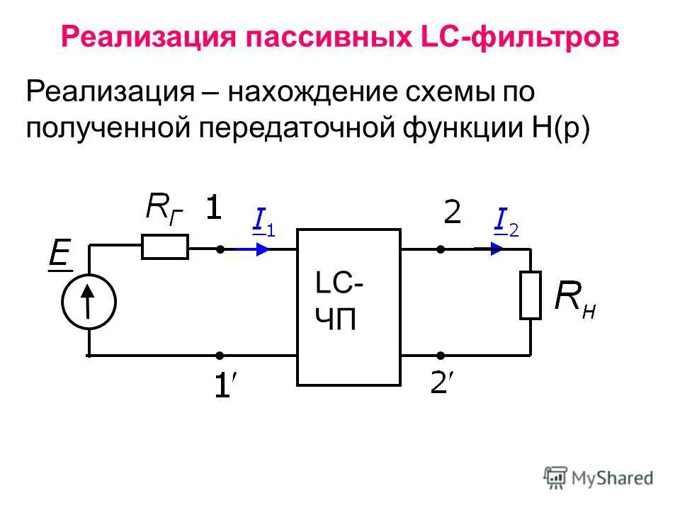 Реализация пассивных LC-фильтров Реализация – нахождение схемы по полученной передаточной функции Н(р) LC- ЧП