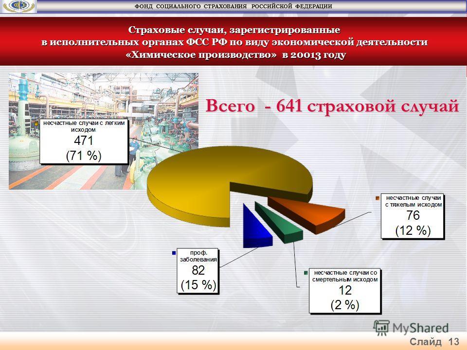 Всего - 641 страховой случай Страховые случаи, зарегистрированные в исполнительных органах ФСС РФ по виду экономической деятельности «Химическое производство» в 20013 году «Химическое производство» в 20013 году ФОНД СОЦИАЛЬНОГО СТРАХОВАНИЯ РОССИЙСКОЙ