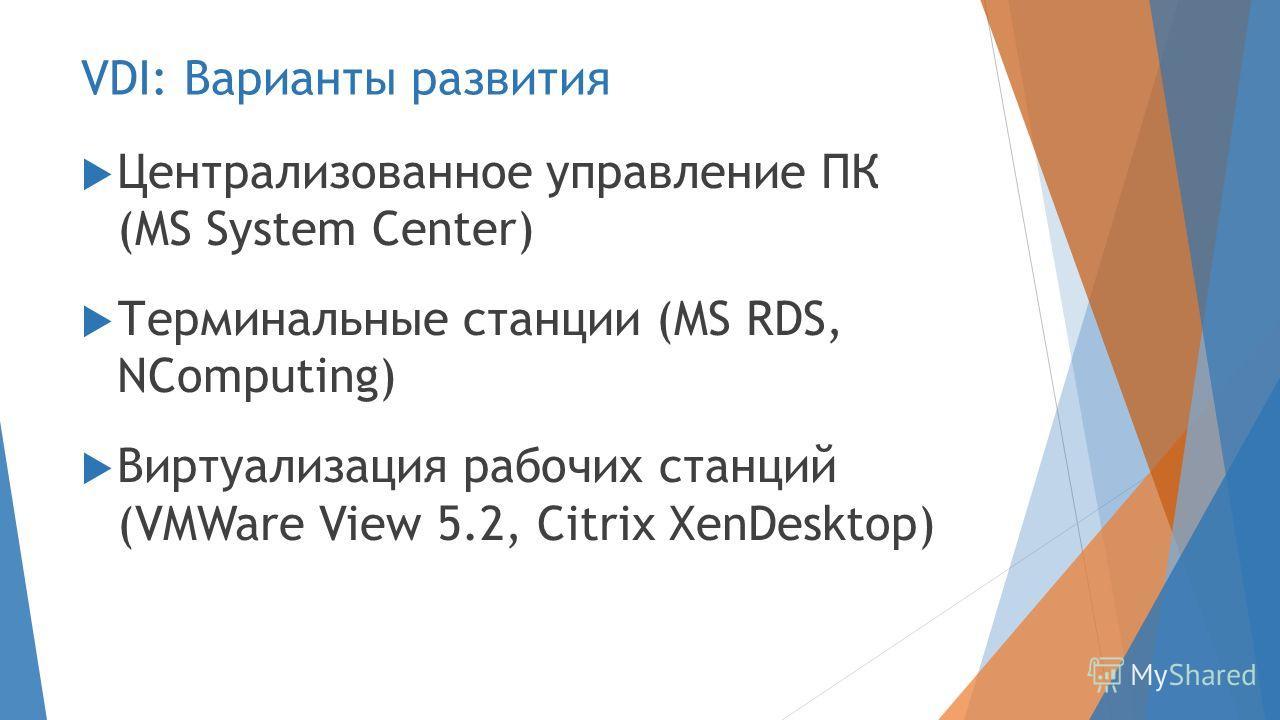 VDI: Варианты развития Централизованное управление ПК (MS System Center) Терминальные станции (MS RDS, NComputing) Виртуализация рабочих станций (VMWare View 5.2, Citrix XenDesktop)