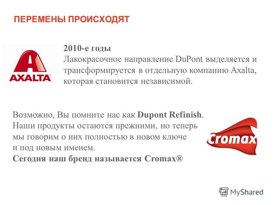 ПЕРЕМЕНЫ ПРОИСХОДЯТ Возможно, Вы помните нас как Dupont Refinish. Наши продукты остаются прежними, но теперь мы говорим о них полностью в новом ключе и под новым именем. Сегодня наш бренд называется Cromax® 2010-е годы Лакокрасочное направление DuPon