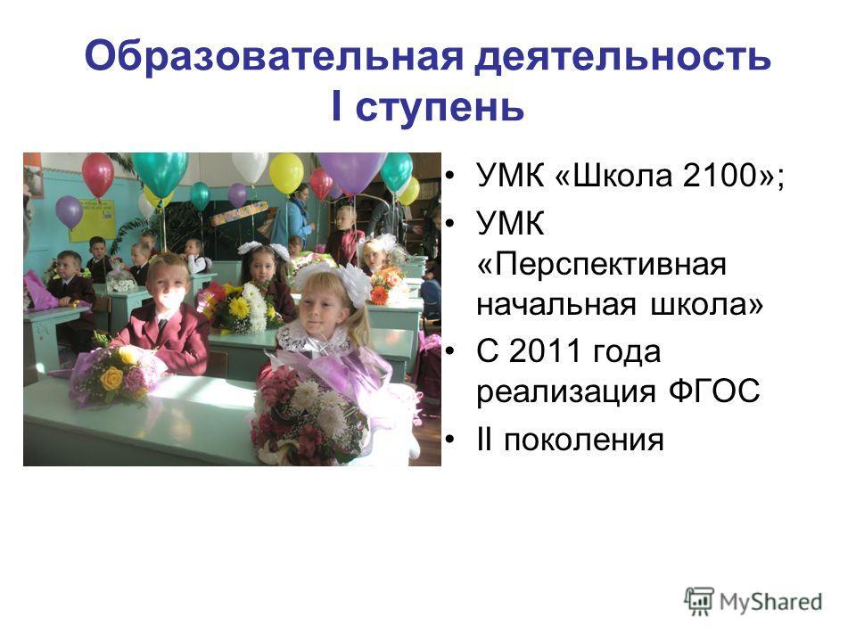 Образовательная деятельность I ступень УМК «Школа 2100»; УМК «Перспективная начальная школа» С 2011 года реализация ФГОС II поколения