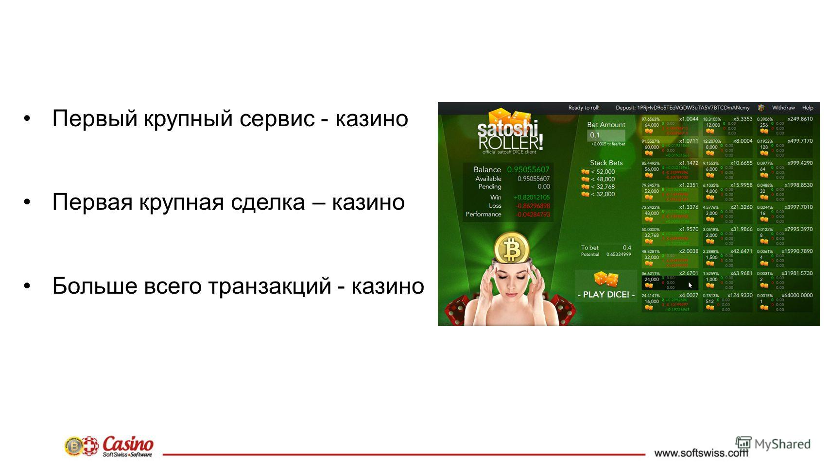 Первый крупный сервис - казино Первая крупная сделка – казино Больше всего транзакций - казино
