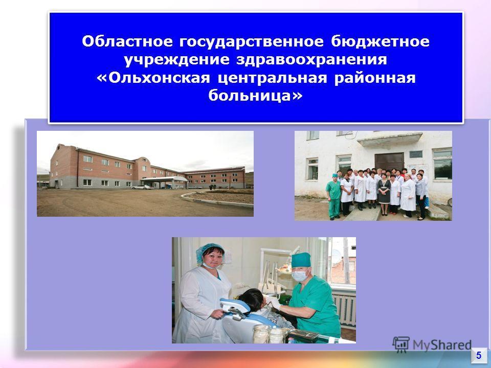 5 5 Областное государственное бюджетное учреждение здравоохранения «Ольхонская центральная районная больница» Областное государственное бюджетное учреждение здравоохранения «Ольхонская центральная районная больница»