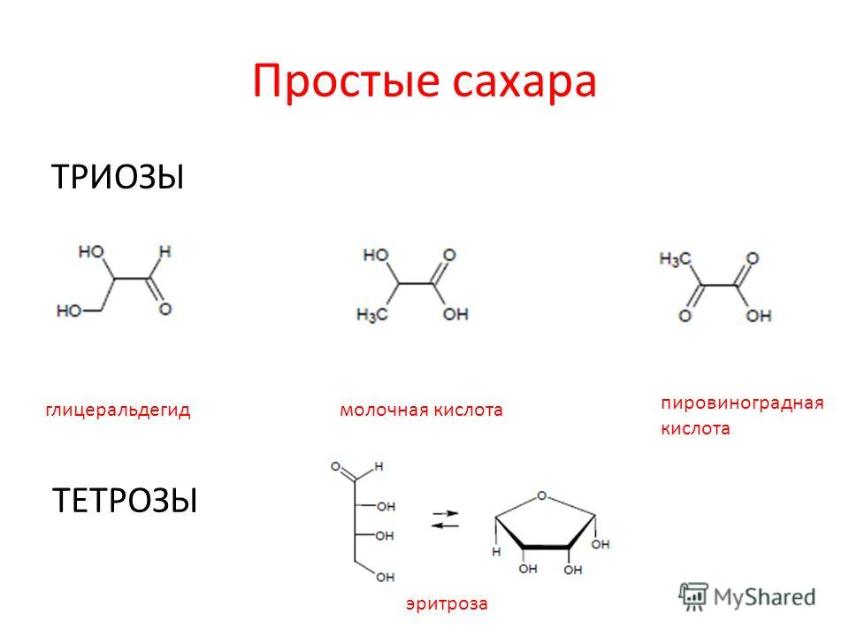 Простые сахара ТРИОЗЫ глицеральдегидмолочная кислота пировиноградная кислота ТЕТРОЗЫ эритроза