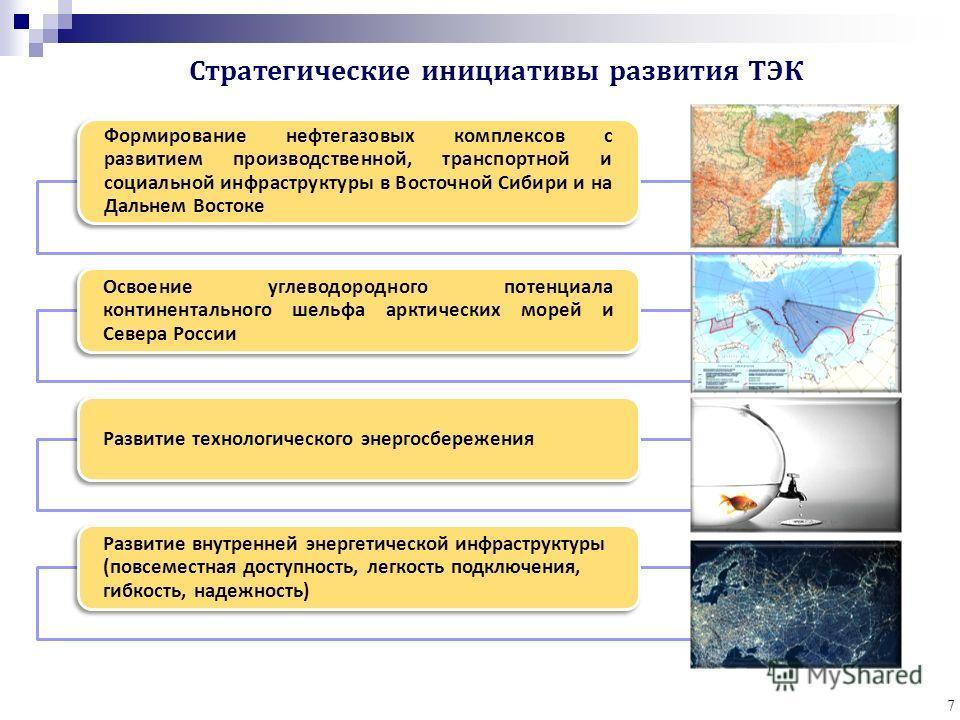 7 Формирование нефтегазовых комплексов с развитием производственной, транспортной и социальной инфраструктуры в Восточной Сибири и на Дальнем Востоке Освоение углеводородного потенциала континентального шельфа арктических морей и Севера России Развит